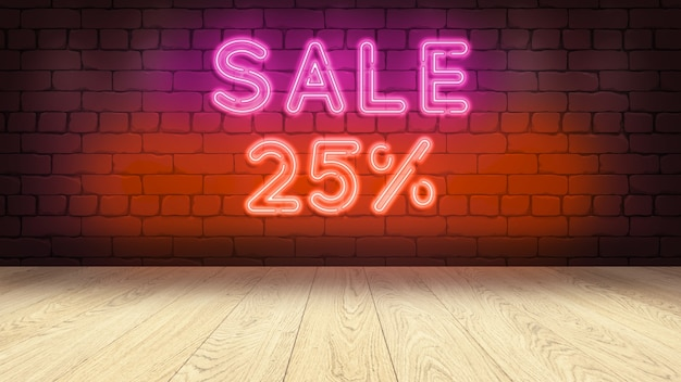 Table podium en bois pour exposer votre marchandise. enseigne au néon sur mur de briques, vente 25 pourcentages 3d illustration