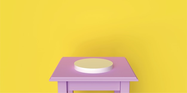 Table rose backgraund podium cercle jaune backgraund produit backgraund soft life style rendu 3d