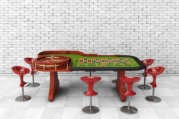 Table de roulette de casino classique avec des chaises devant un mur de briques. rendu 3d.