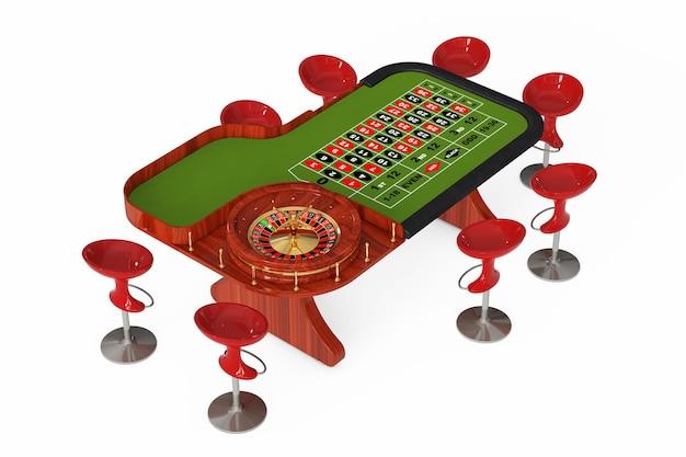 Table de roulette de casino classique avec des chaises sur fond blanc. rendu 3d.