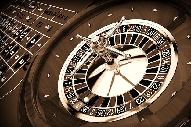 Table de roulette de casino classique gros plan extrême. rendu 3d.