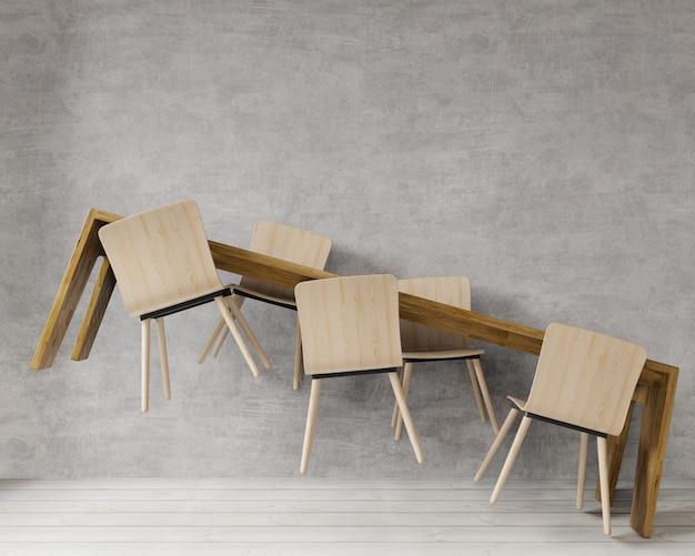 Table de salle à manger en lévitation de rendu 3d dans une grande pièce.conception intérieure, style loft, mur de béton brut pour maquette et espace de copie