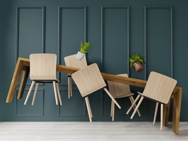 Table de salle à manger à lévitation de rendu 3d dans une grande pièce design d'intérieur, style art déco