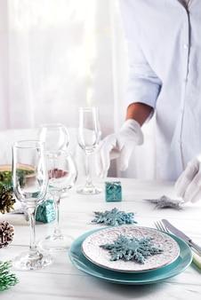 Table servie pour le diner de noël