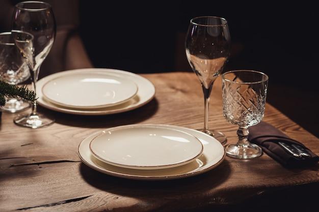 Table servie pour le dîner de noël