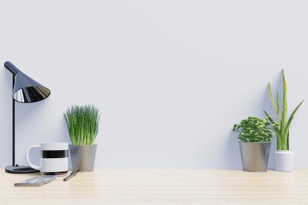 Table de travail avec décoration sur le bureau