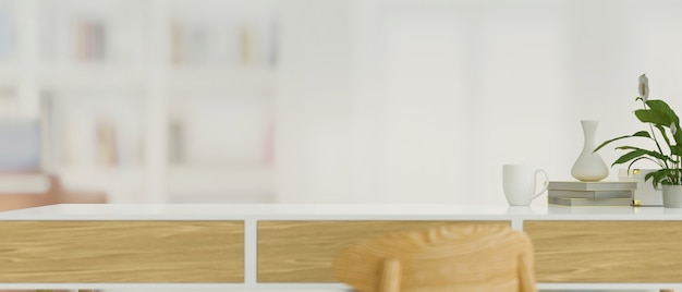 Table de travail avec espace de copie et arrière-plan flou de bureau rendu 3d illustration 3d