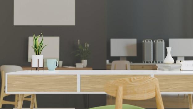 Table de travail avec espace de copie dans une salle de bureau confortable rendu 3d illustration 3d