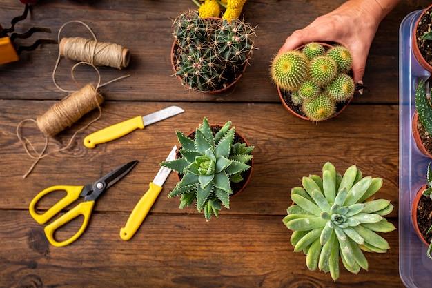 Table De Travail Marron Avec Fleurs Et Accessoires De Fleuriste, Vu D'en Haut Photo Premium