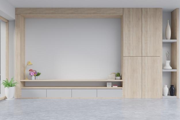 Table tv avec mur d'écran de ciment sur le mur dans le salon moderne.