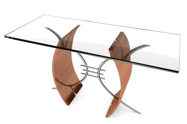 Table en verre moderne sur fond blanc