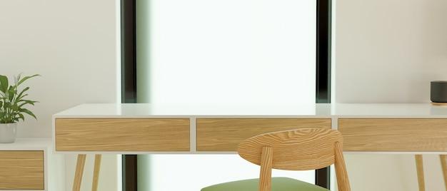 La table vide dans le salon avec chaise et décorations rendu 3d illustration 3d
