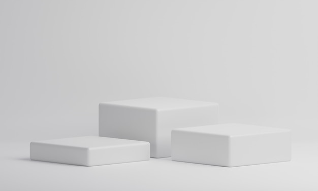 Table de vitrine de produit cube rectangle blanc sur fond isolat