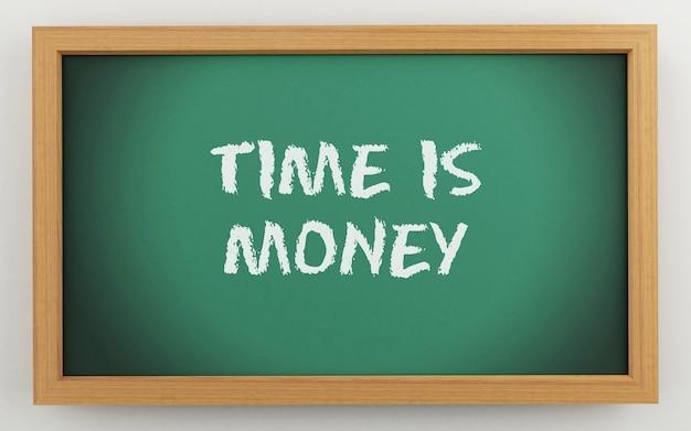 Tableau 3d avec le temps, c'est de l'argent