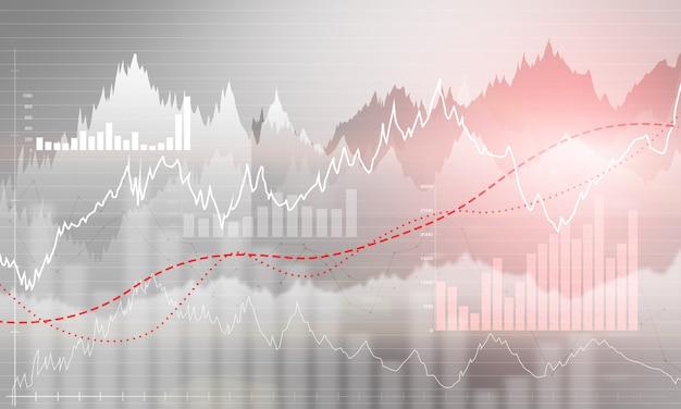 Tableau d'affaires abstrait avec graphique en ligne de tendance haussière