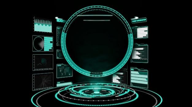 Tableau de bord de l'interface utilisateur futuriste pour l'analyse des données volumineuses dans le graphique d'informations