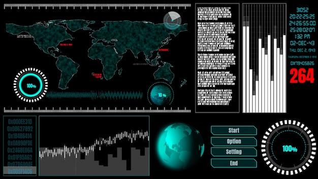 Tableau de bord de l'interface utilisateur futuriste pour l'analyse des données volumineuses dans le tableau d'informations