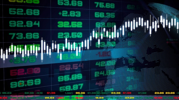 Tableau de bord des tickers boursiers avec graphiques et graphiques. illustration 3d.