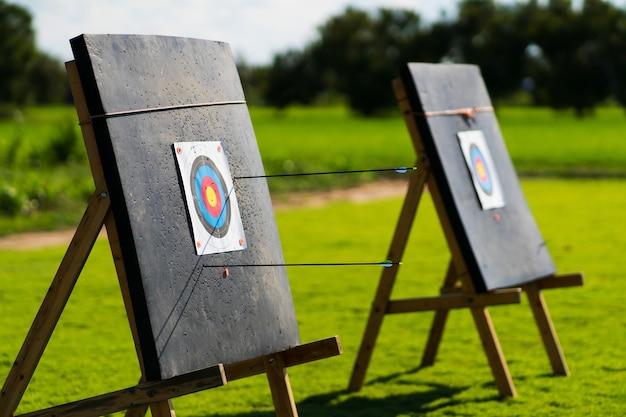Tableau cible coloré avec fond de cible de tir à l'arc flèches