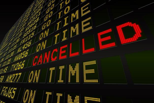 Tableau des départs de l'aéroport noir