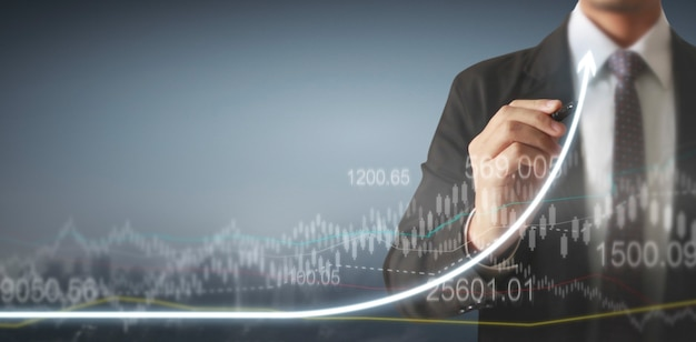 Tableau de dessin à la main. graphique stock de croissance v