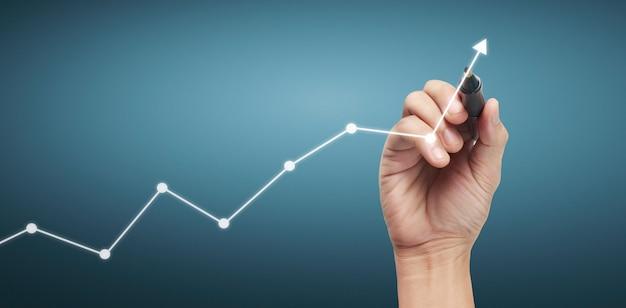 Tableau de dessin à la main, stock de graphique de croissance