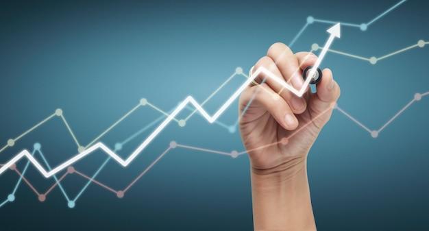 Tableau de dessin à la main, stock graphique de croissance
