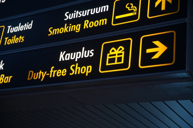 Tableau duty free à l'aéroport