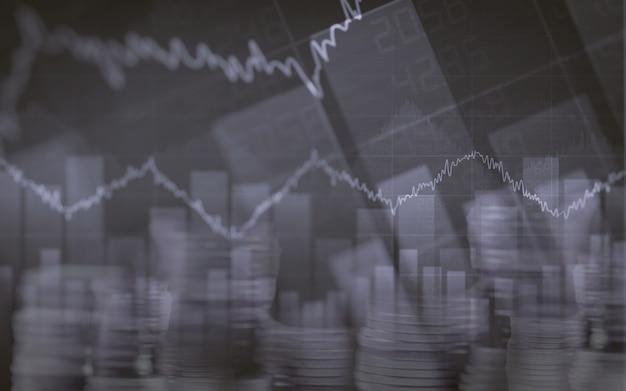 Tableau financier abstrait avec graphique et pile de pièces