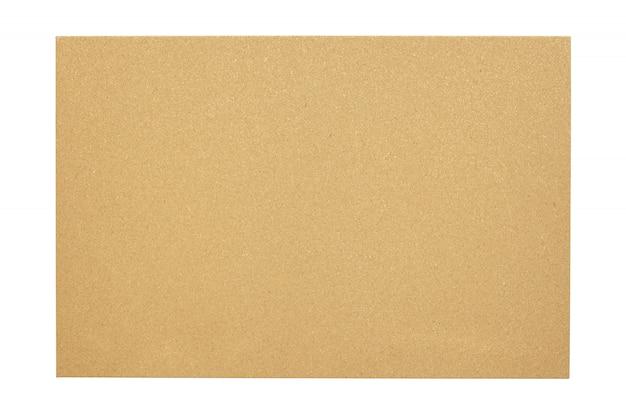 Tableau de liège blanc avec un cadre en bois isolé sur fond blanc
