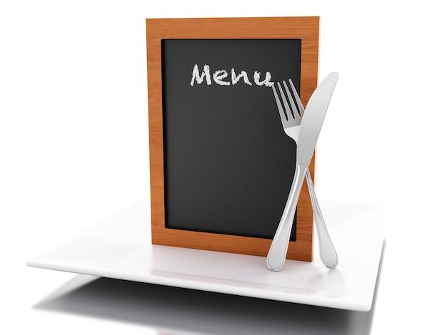 Tableau de menu 3d avec assiette, fourchette et couteau.