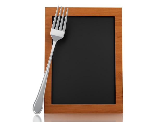 Tableau de menu 3d avec fourchette