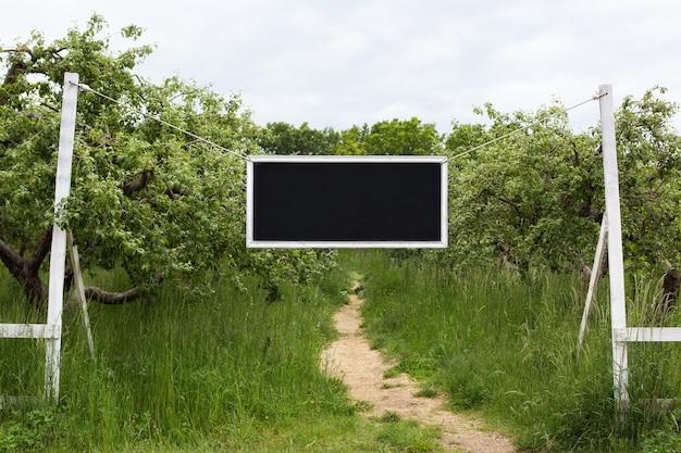 Tableau noir avec cadre blanc accroché à une branche d'arbre dans le jardin