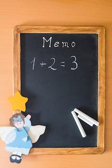Tableau noir avec exemple mathématique