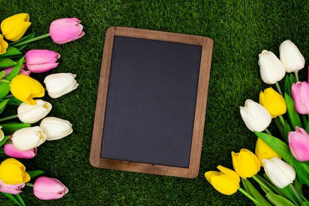 Tableau noir sur l'herbe