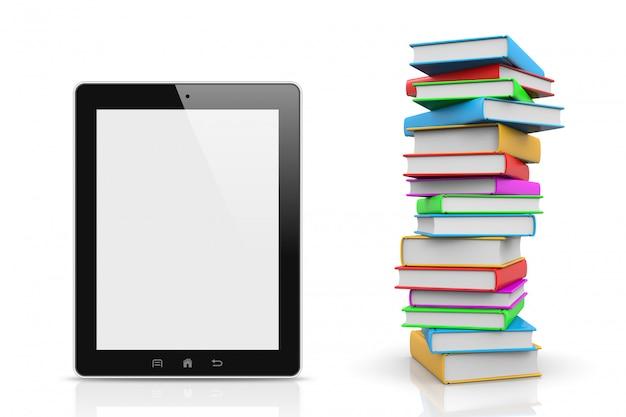 Tablet pc comparé à une pile de livres