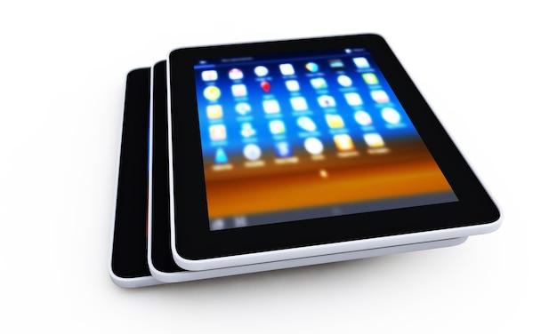 Tablet pc sur le rendu 3d de fond blanc