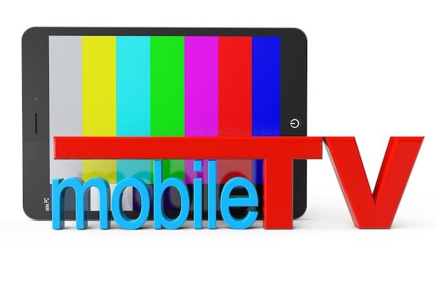 Tablet pc avec signe de télévision mobile sur fond blanc