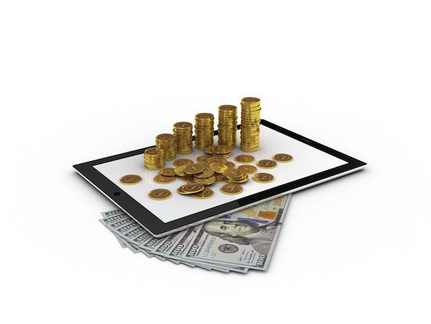 Tablette et argent d'or
