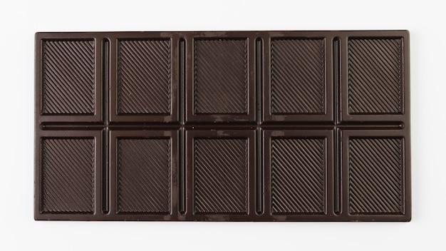 Tablette de chocolat noir vue de dessus