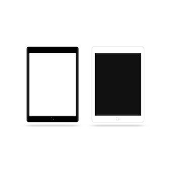 Tablette d'écran noir et blanc vide isolé