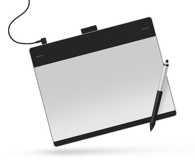 Tablette graphique avec illustration de stylet, isolé