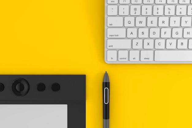 Tablette graphique professionnelle avec stylet numérisé près du clavier de l'ordinateur sur fond jaune. rendu 3d