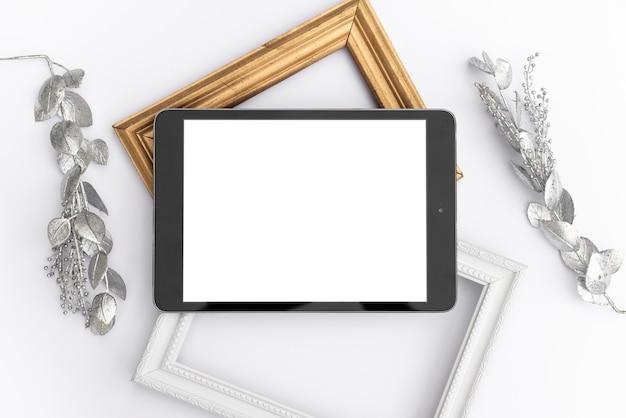 Tablette maquette vue de dessus avec cadres