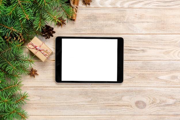Tablette numérique en bois de noël rustique