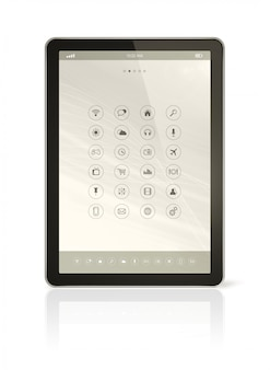 Tablette numérique avec interface d'icônes d'applications