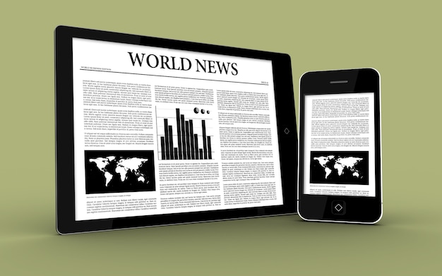 Tablette numérique et smartphone montrant l'actualité
