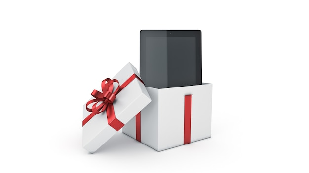 Tablette ordinateur cadeau boîte concept rendu 3d