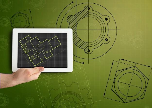 Tablette et plan sur fond vert