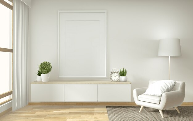 Tablette tv dans une pièce vide moderne zen